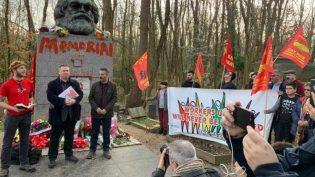 Karl Marx'ın anıt mezarına yapılan saldırı protesto edildi