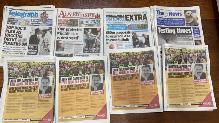 İngiliz Gazetelerinde Öcalan Özgürlük kampanyası