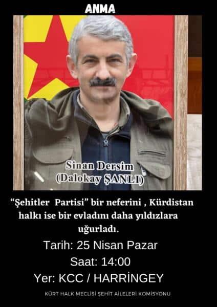 Londra KHM'den 'Sinan Dersim' çağrısı
